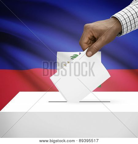 Ballot Box With National Flag On Background - Haiti