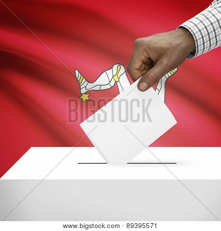 Ballot Box With National Flag On Background - Isle Of Man