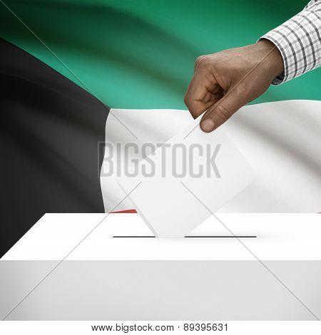 Ballot Box With National Flag On Background - Kuwait