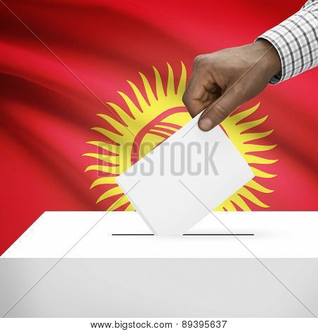 Ballot Box With National Flag On Background - Kyrgyzstan