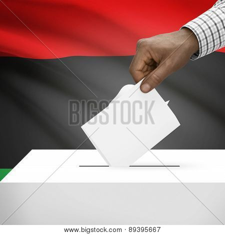 Ballot Box With National Flag On Background - State Of Libya