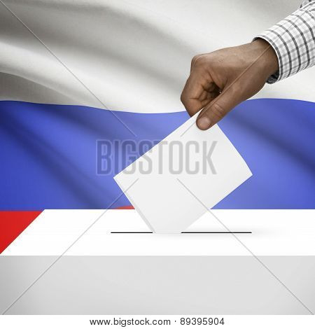 Ballot Box With National Flag On Background - Russia