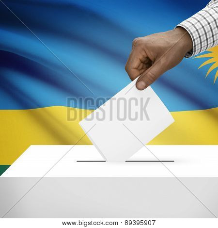 Ballot Box With National Flag On Background - Rwanda