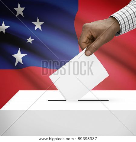 Ballot Box With National Flag On Background - Samoa