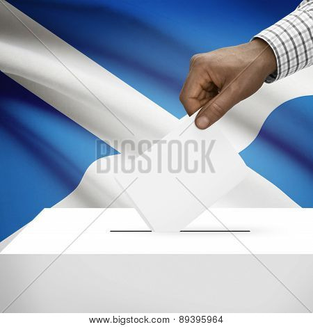 Ballot Box With National Flag On Background - Scotland