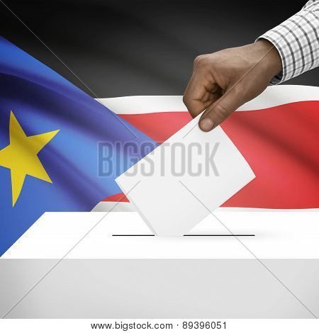 Ballot Box With National Flag On Background - Republic Of South Sudan