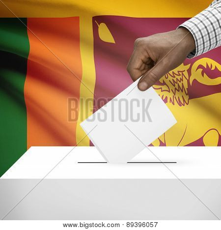 Ballot Box With National Flag On Background - Sri Lanka