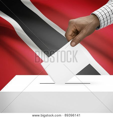 Ballot Box With National Flag On Background - Trinidad And Tobago