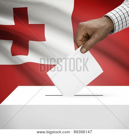 Ballot Box With National Flag On Background - Tonga