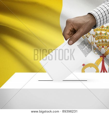 Ballot Box With National Flag On Background - Vatican City State