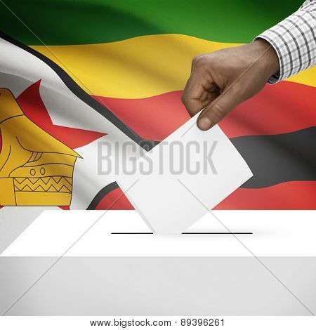 Ballot Box With National Flag On Background - Zimbabwe