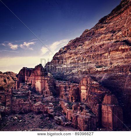 Petra In Jordan At Sunset