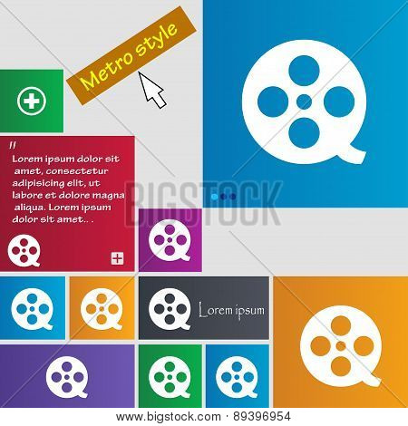 Film Icon Sign. Metro Style Buttons. Modern Interface Website Buttons With Cursor Pointer. Vector