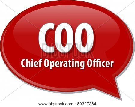 word speech bubble illustration of business acronym term COO Chief Operating Officer vector