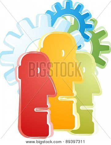 Illustration concept clipart of group of heads thinking ideas together as a team vector