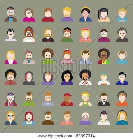 People Diversity Portrait Design Characters Avatar Vector