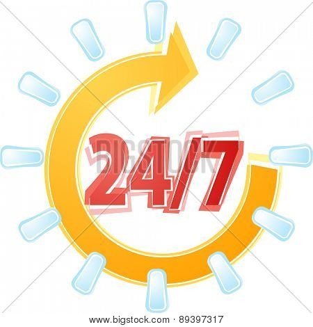 Illustration concept clipart open 24 by 7 with cyle clock symbols vector