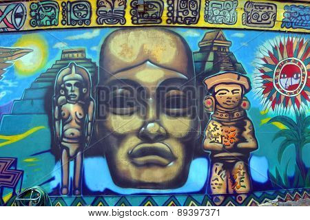Aztec god mural