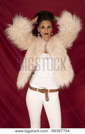 Woman In White Clothes And Fur On Red Hands In Hair