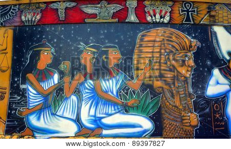 Mural of egyptian gods