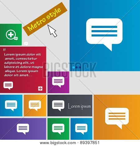 Speech Bubble, Chat Think Icon Sign. Metro Style Buttons. Modern Interface Website Buttons With Curs