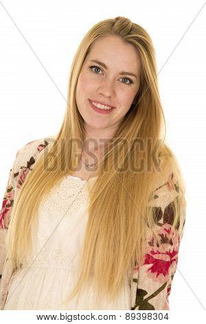 Woman Flower Shirt Long Hair Look Smile