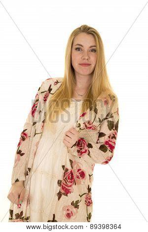 Woman Flower Shirt Long Hair Stand