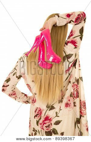 Woman Flower Shirt Pink Shoes Behind Hair