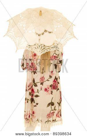 Woman Flower Shirt Umbrella Fromm Back