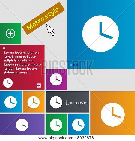 Mechanical Clock  Icon Sign. Metro Style Buttons. Modern Interface Website Buttons With Cursor Point