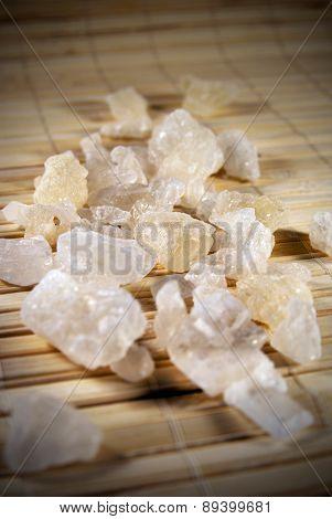 White rock sugar on the mat