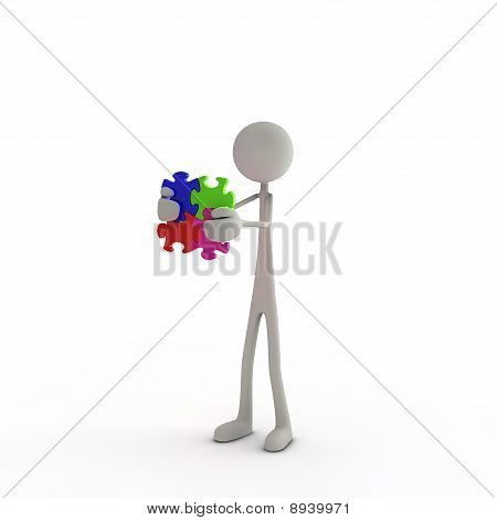 3D Figure With Pieces Of A Puzzle