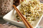 stock photo of mung beans  - Lentil and mung beans sprouts salad on plate with chopsticks - JPG