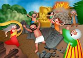 stock photo of calves  - A cartoon biblical illustration depicting the children of israel worshipping the golden calf - JPG