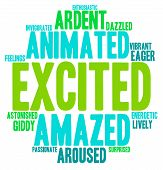 picture of aroused  - Excited word cloud on a white background - JPG