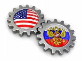 stock photo of snatch  - USA and Russian flags on a gears - JPG
