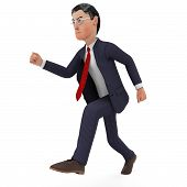 pic of high-speed  - Businessman Walks Quickly Meaning High Speed And Executive - JPG