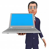 picture of presenting  - Businessman Presenting Meaning Empty Space And Technology - JPG
