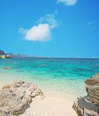 pic of shoreline  - Cala Mariolu shoreline under a blue sky - JPG