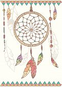 foto of dream-catcher  - Hand drawn native american dream catcher beads and feathers vector illustration - JPG