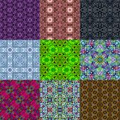stock photo of kaleidoscope  - Set of kaleidoscopic seamless generated textures or backgrounds - JPG