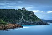 pic of leghorn  - Cliff rock and building on the sea on winter - JPG