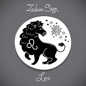 pic of leo  - Leo zodiac sign of horoscope circle emblem in cartoon style - JPG