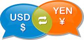 foto of yen  - Illustration concept clipart speech bubble dialog conversation negotiation of currency exchange rate USD Yen Dollar Yen - JPG
