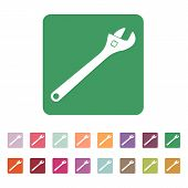 stock photo of pipe wrench  - The adjustable wrench icon - JPG