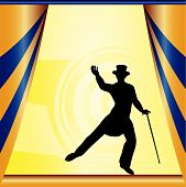 stock photo of debonair  - Background illustration with a stage and a debonair dancer - JPG