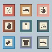 pic of ball cap  - Golf sport items silhouette icon set - JPG