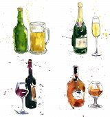 stock photo of drawing beer  - cognac bottle and cup - JPG