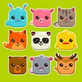 picture of zoo  - Set of cute cartoon square animals vector zoo stickers - JPG