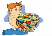 image of full cheeks  - a persons mouth is full of different coloured pencils - JPG